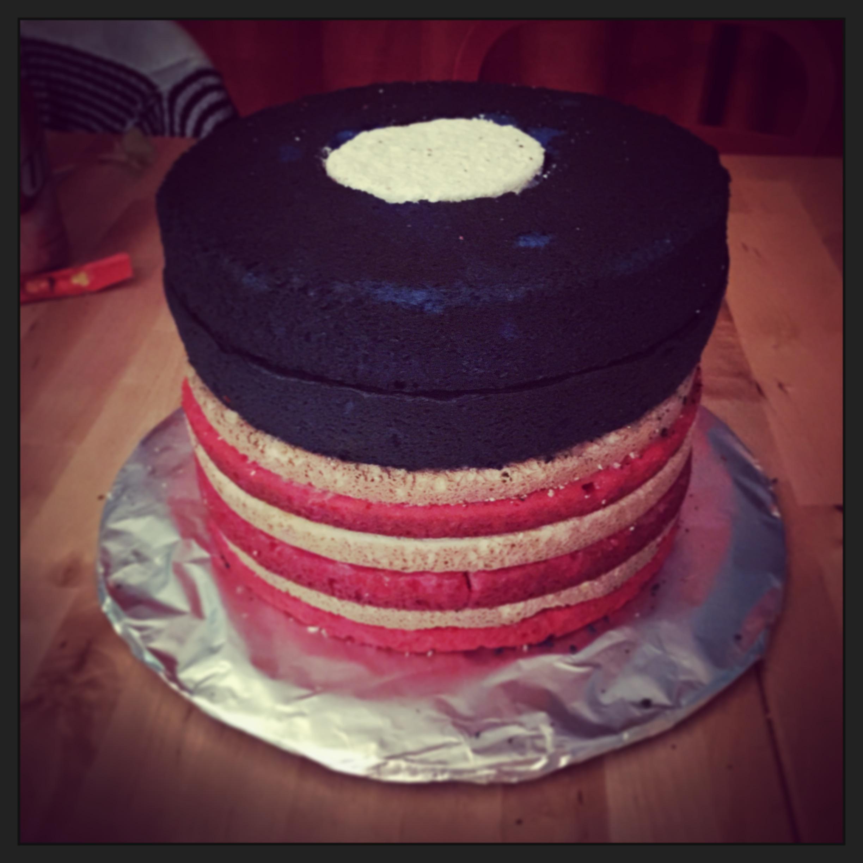 flag cake layers