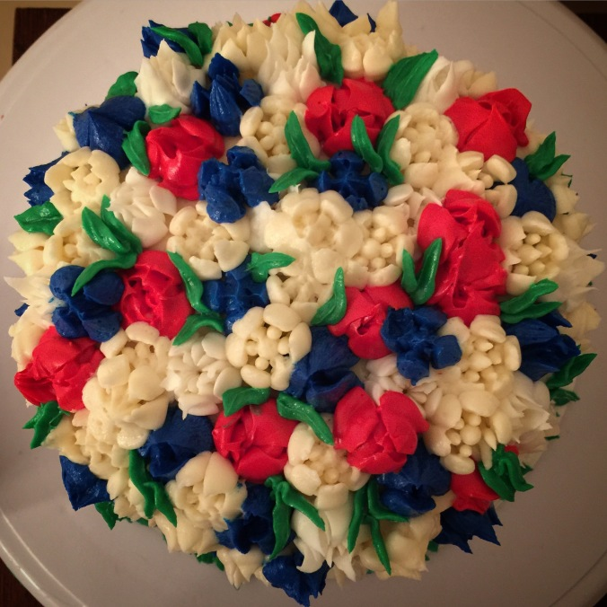 Fourth of July Buttercream Cake view from above