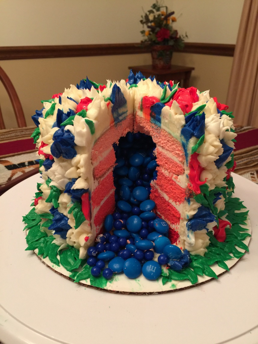 Fourth of July Buttercream Ombré Piñata Cake