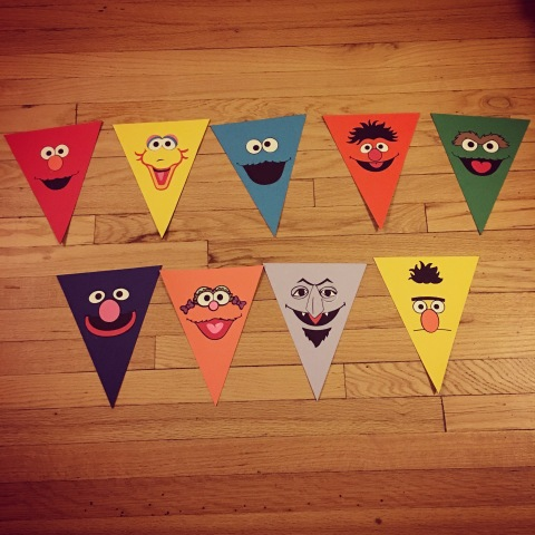Party prep: Sesame Street bunting flags