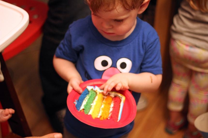 Birthday brother eating cake