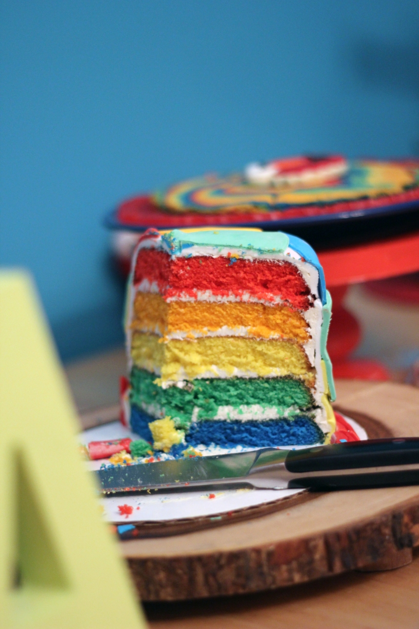 Rainbow pound cake with Italian buttercream frosting
